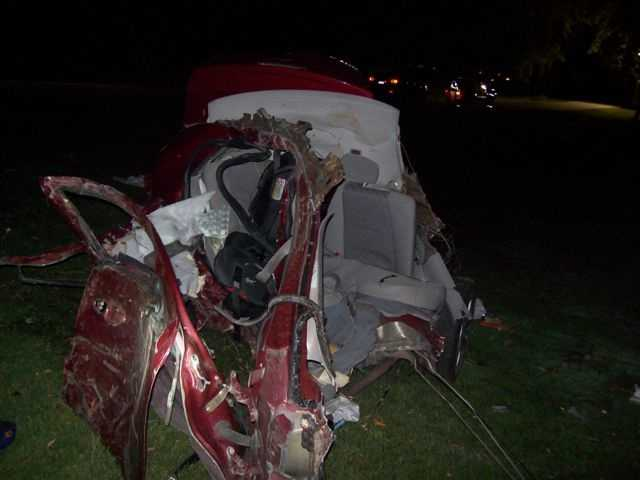 McCormick said the vehicle failed to stop at a T-intersection and continued on the service road, which is east of the intersection. The vehicle struck several trees and eventually was split in two.