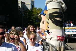 The Milwaukee Brewers famous Racing Sausages were on hand to cheer on runners and walkers.