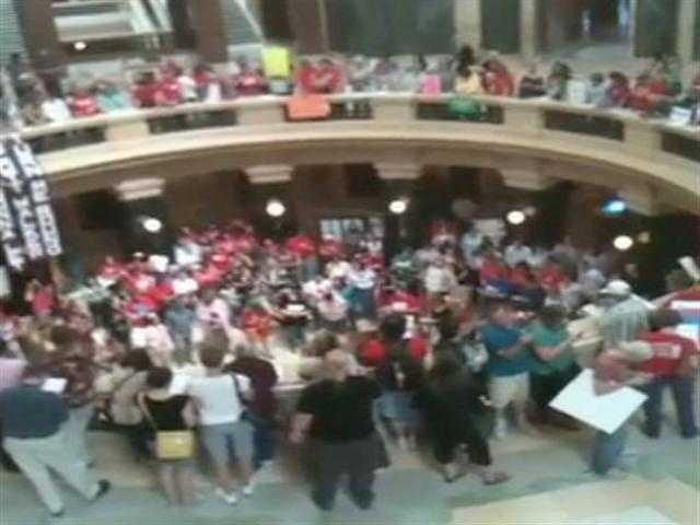 Feb. 17, 2011 - Protestors take to the Wisconsin Capitol in Madison to voice their opposition to the Act 10 measure.