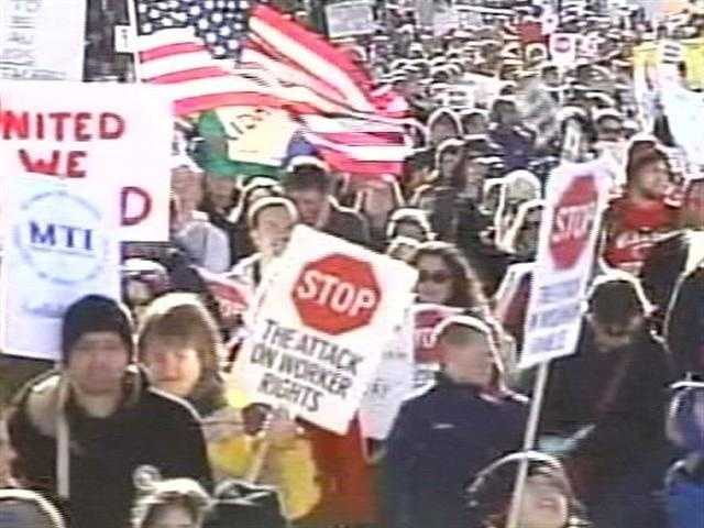 Feb. 19, 2011- Crowds continue to grow at the Capitol as protests both for and against the bill.