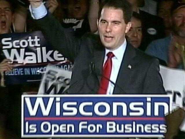 Nov. 2, 2010 - Milwaukee County Executive Scott Walker wins the election for Governor.