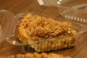 Apple pie is sold by the slice or piece.
