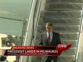 President Barack Obama landed in Milwaukee just after 1pm Saturday. He will attend a private fundraiser this afternoon at the Milwaukee Theater, then will hold a public audience at Maier Festival Park around 6 p.m.