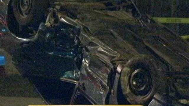A two car accident near 27th and Hadley streets overnight caused one vehicle to flip over on its roof.