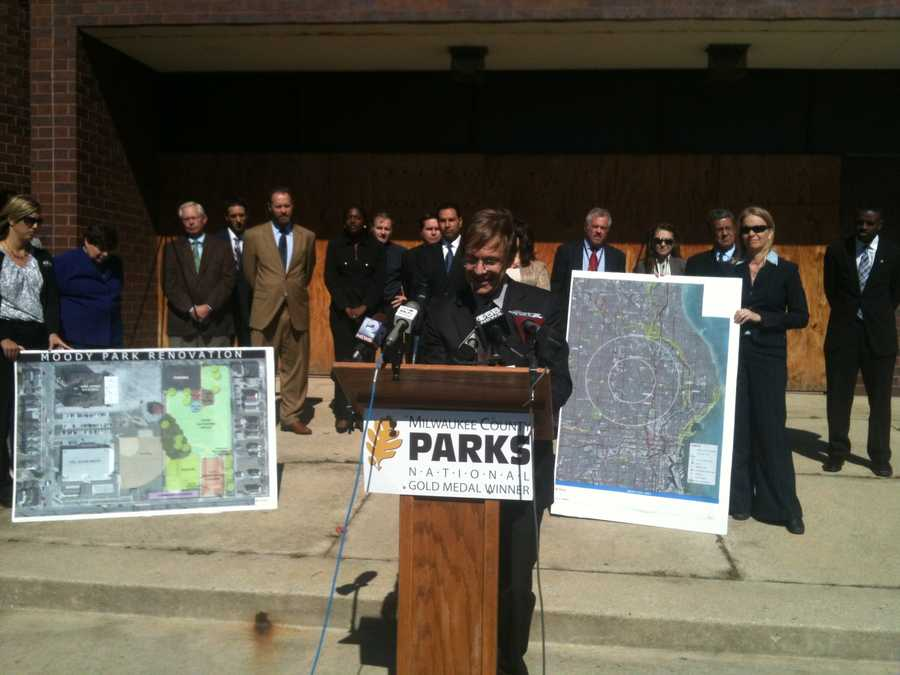 Milwaukee County Executive Chris Abele previewed his 2013 budget at Moody Park on Wednesday.