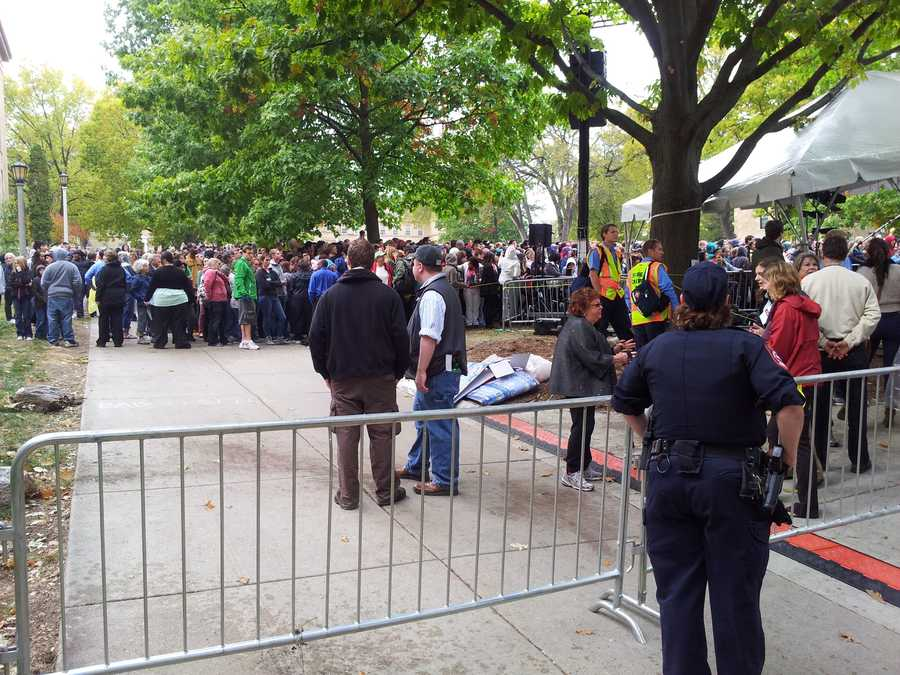 The crowd gathered all day to wait for President Barack Obama.