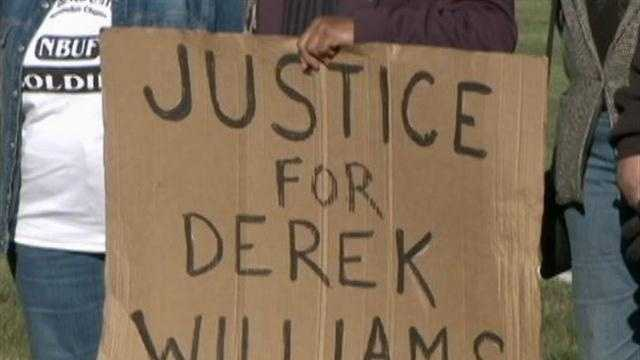 A group of people upset with talk radio host Mark Belling's comments on the Derek Williams case held a protest in front of Clear Channel Radio's offices Thursday.