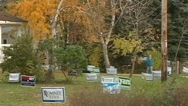 Political signs vandalized in Caledonia.