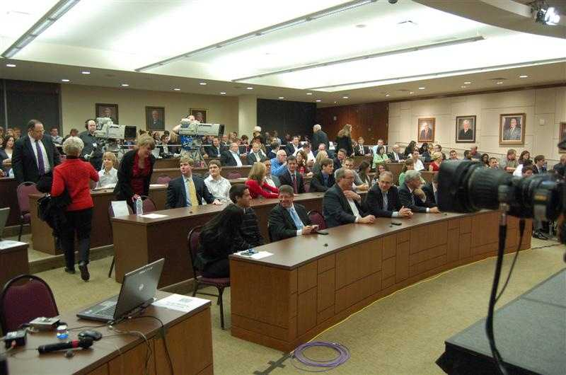 The audience has gathered in the Appellate Courtroom at Marquette University.