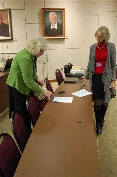 Executive Producer Rita Aleman goes over notes with UPFRONT producer Susan MacDonald.