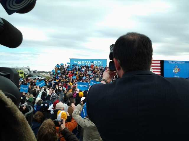 President Barack Obama speaks at the Green Bay Airport on Thursday morning.