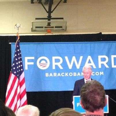 Former President Bill Clinton campaigns for President Barack Obama in Waukesha.