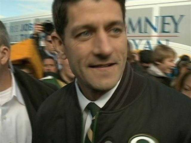 Republican vice presidential candidate Paul Ryan put on a Packers and made his way through a tailgate at Lambeau Field.