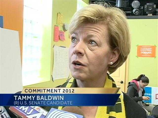 Democratic U.S. Senate candidate Tammy Baldwin met with campaign volunteers on Sunday afternoon.