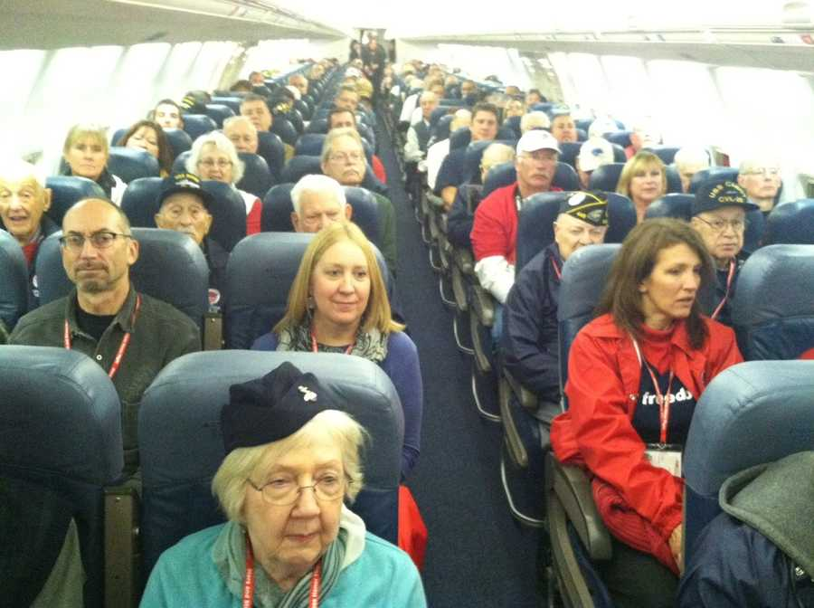 2 chartered Delta 757 aircraft are boarded and ready for take off.  220 WWII veterans aboard for a one day trip to see the memorials built in their honor.