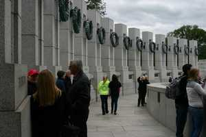 There are 56 granite pillars each measuring 17 feet tall.