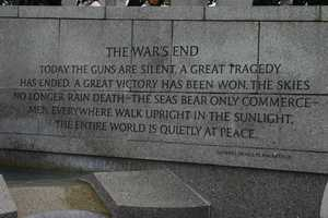 """Today the guns are silent.  A great tragedy had ended.  A great victory has been won.  The skies no longer rain death- the seas bear only commerce- men everywhere walk upright in the sunlight.  The entire world is quietly at peace.""  - Gen. Douglas MacArthur"