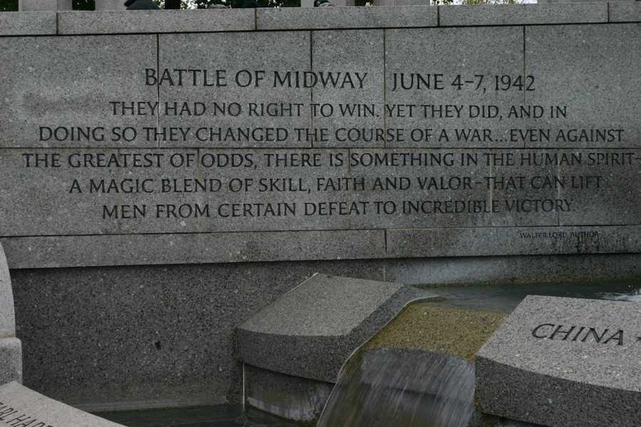 Battle of Midway- widely considered a decisive battle in the war.  The US Navy defeats the Japanese Navy in this battle.