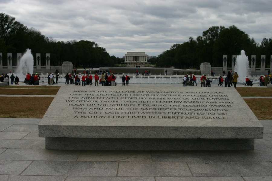 """Here in the presence of Washington and Lincoln, one the Eighteenth Century father and the other the Nineteenth Century preserver of our nation, we honor those Twentieth Century Americans who took up the struggle during the second world war and made the sacrifices to the perpetuate the gift our forefathers entrusted to us: A nation conceived in liberty and justice."""