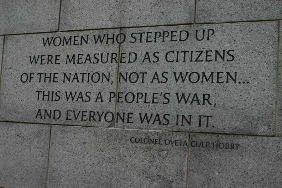 """Women who stepped up were measured as citizens of the nation, not as women... this was a people's war, and everyone was in it.""  -Colonel Oveta Culp Hobby"