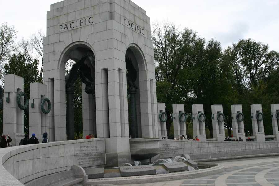 The arch depicting the Pacific theater is located on the South end of the memorial.