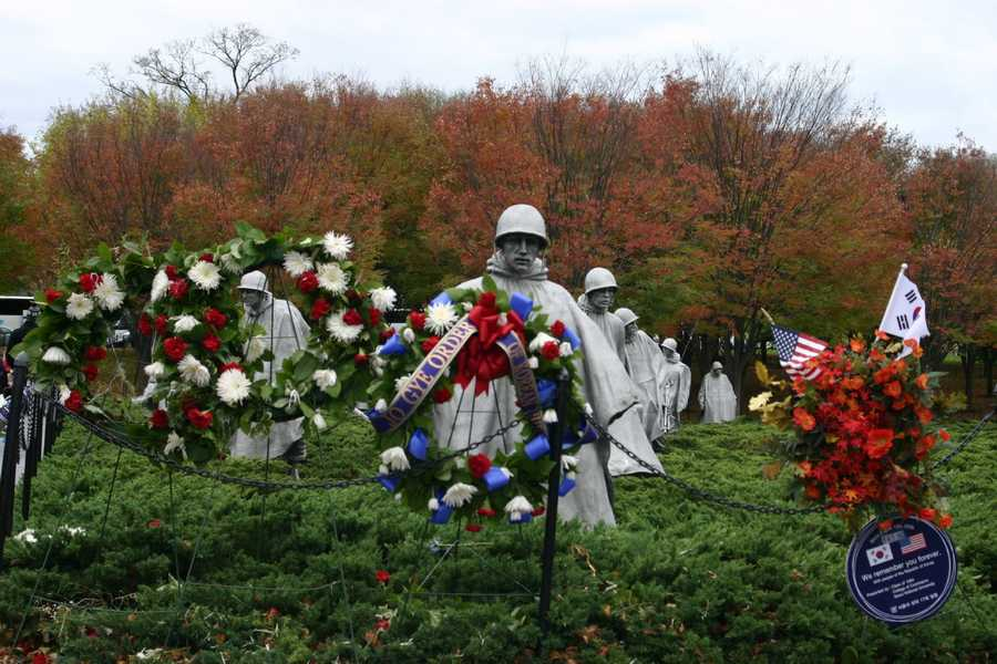 The Korean War Veterans Memorial incorporates 19 stainless steel figures.