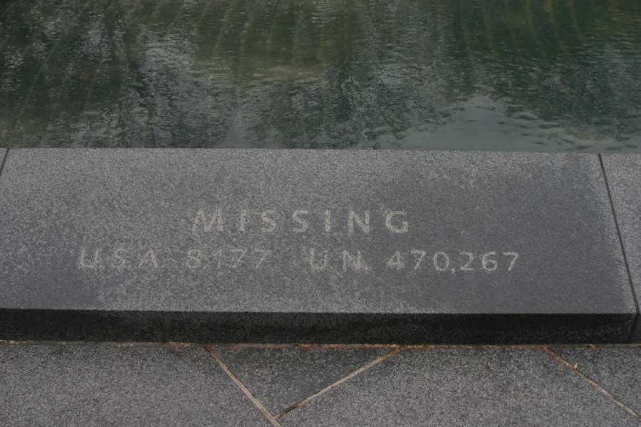 """Korean War Veterans Memorial- """"Missing""""U.S.A. 8,177U.N. 470,267"""