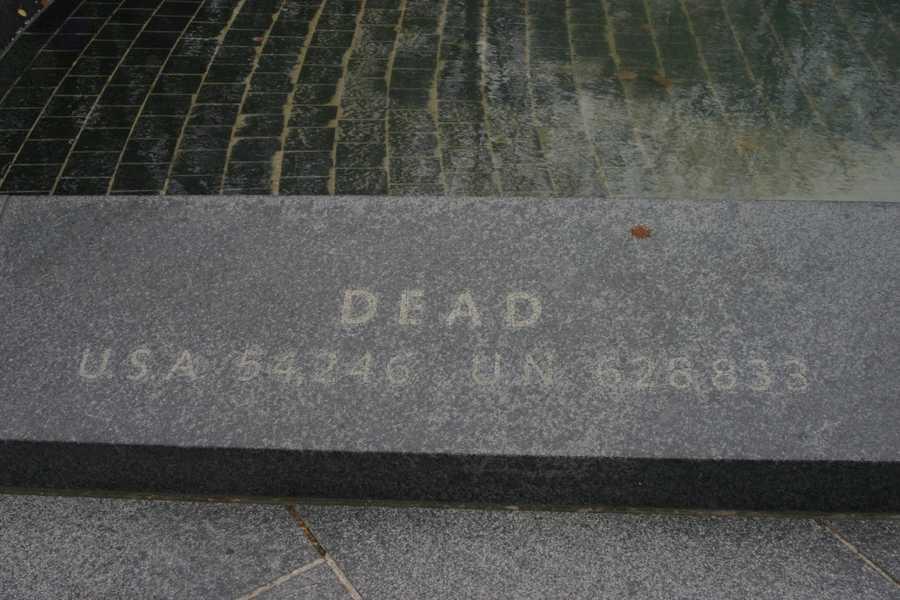 "Korean War Veterans Memorial- ""Dead""U.S.A. 54,246U.N. 628,833"