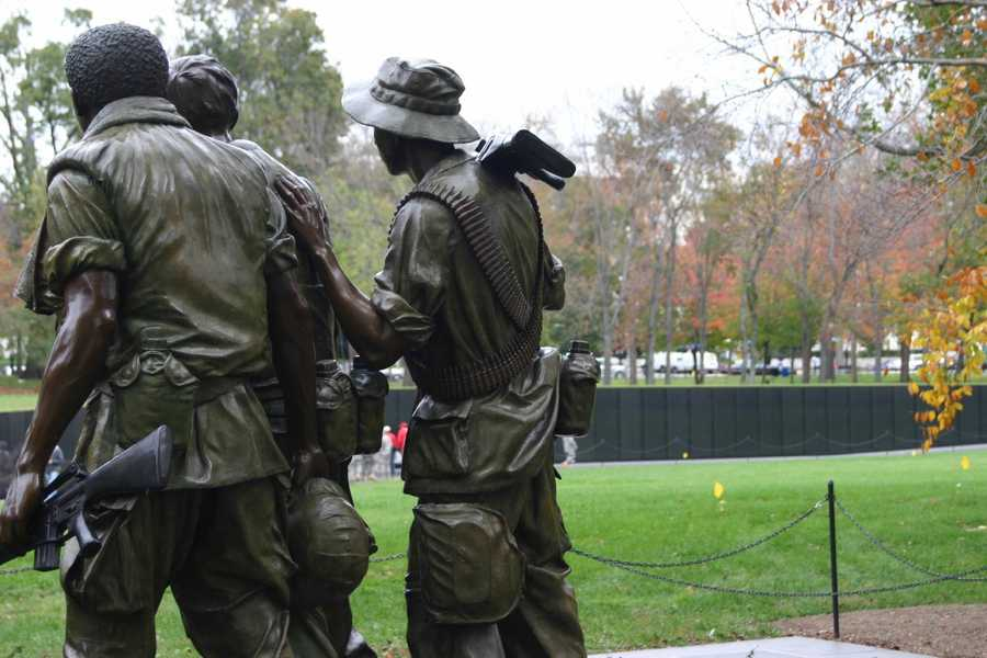 """The Three Servicemen"" statue is part of the memorial."