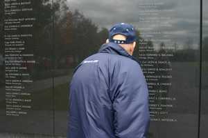 One of the granite walls at the Air Force Memorial.