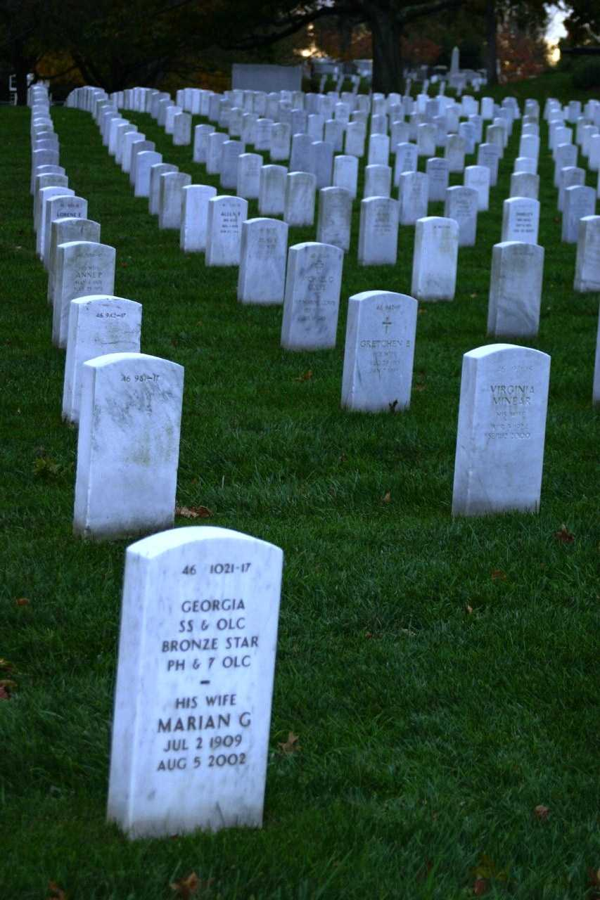 Other historical figures buried at Arlington include- Abner Doubleday (credited with inventing baseball), Joe Lewis (boxer), Earl Warren (U.S. Supreme Court), William Rehnquist (U.S. Supreme Court), Thurgood Marshall (U.S. Supreme Court) and Medgar Evers (Civil Rights leader).