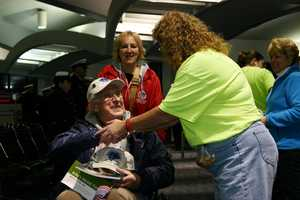 These 200+ WWII vets are returning from a one-day, whirl-wind, trip to Washington D.C.