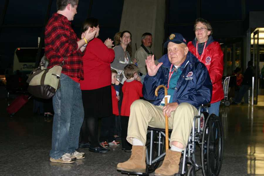 The scene as the Honor Flight vets returned to Dulles Airport in Washington D.C. ready to board their return flight to Milwaukee. They have no idea of the massive homecoming celebration planned when they land.