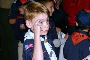 A number of scout troops were on hand to send off the vets.