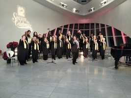 The MPS Community Gospel Choir performing inside the Milwaukee Art Museum.