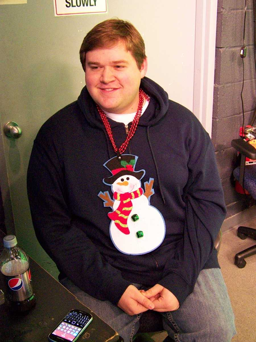 "Morning producer Matt Sliker went ""Flavor Flav"" on us with his snowman necklace."
