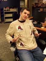 Producer Michael Nothnagel honored tomorrow's opening of the Red Arrow ice rink with his sweater.