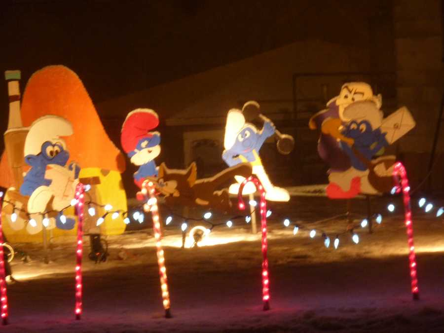 Lights, inflatables and cut-outs are familiar elements in the displays.