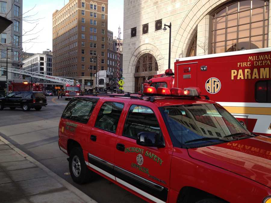 Dive crews went into the Milwaukee River at the Water Street bridge on Wisconsin Avenue.