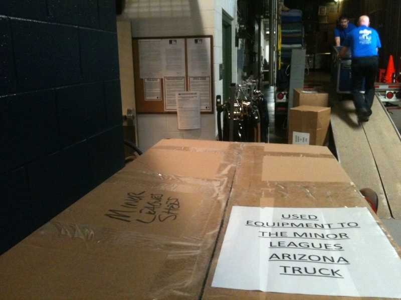 Baseballs, bats, uniforms, even a pitching machine are all going -- everything the team will need for spring training.