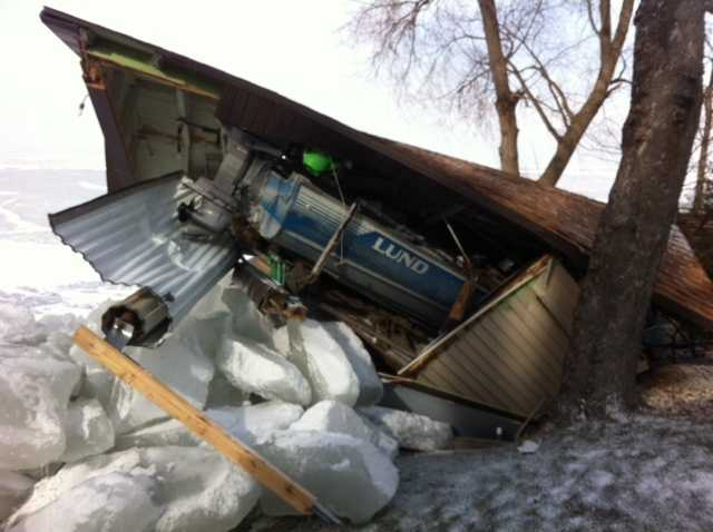 High winds and ice cause damage around Lake Winnebago over the weekend.