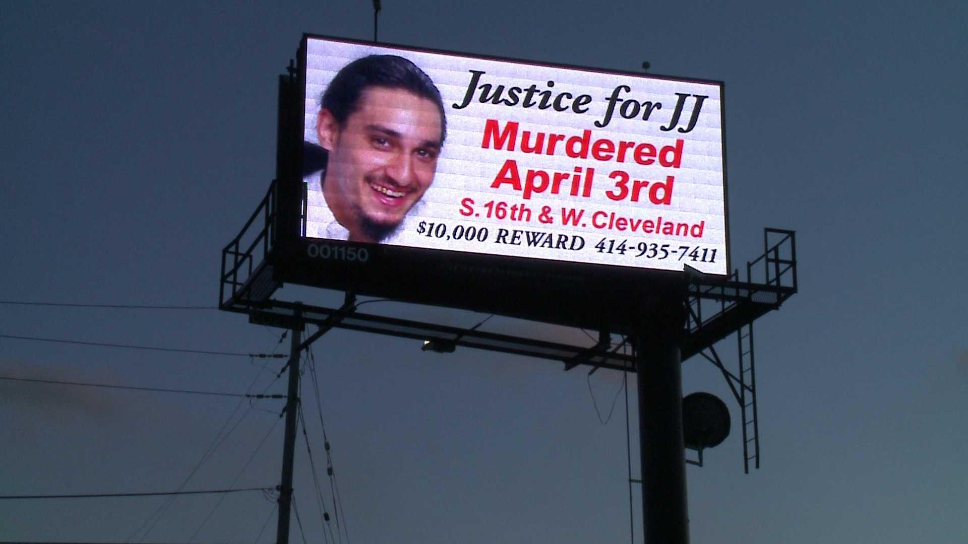Billboard seeks information in murder of Justin Kohen, J.J., of Milwaukee.