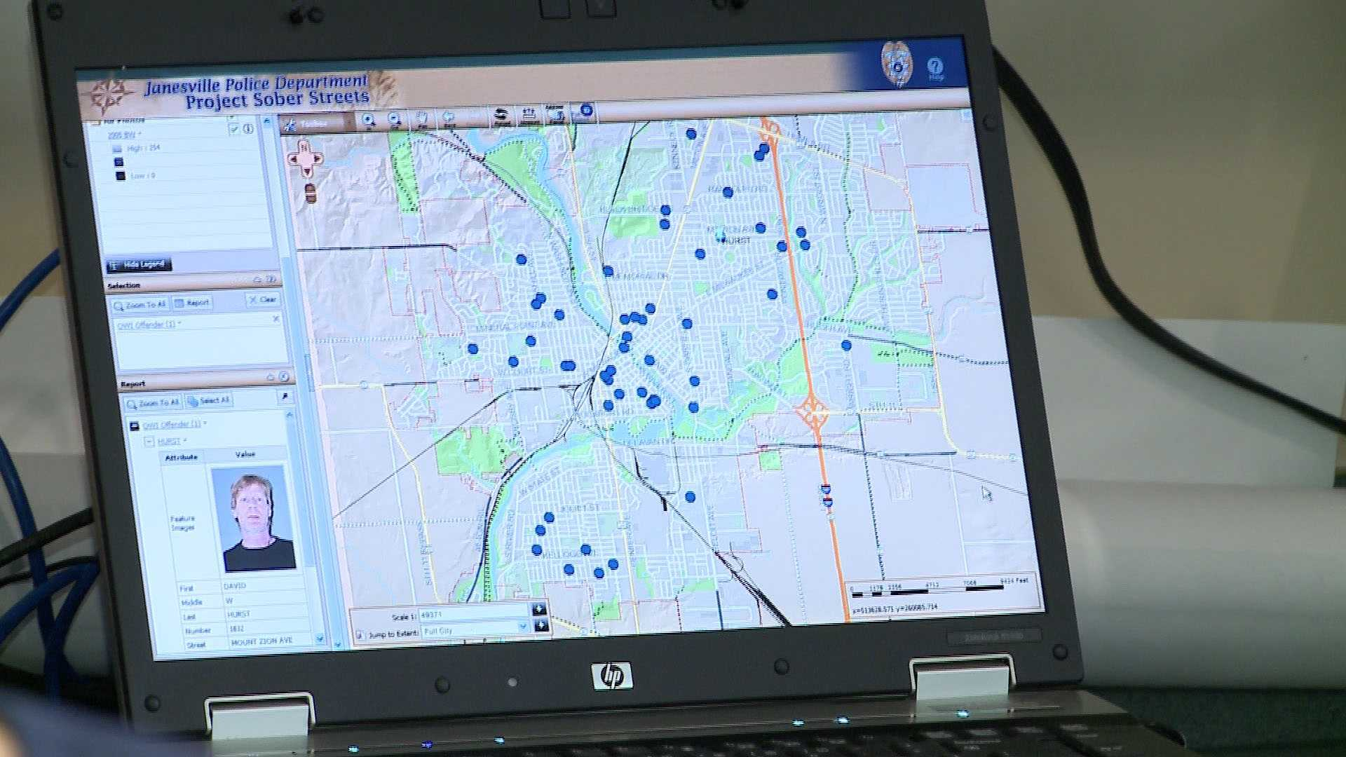 Janesville police provide a map showing residents arrested for drunken driving at least five times in the past five years.