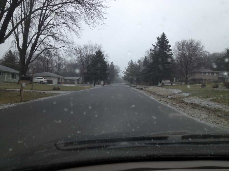 Freezing rain and sleet in Brookfield on Wednesday morning.
