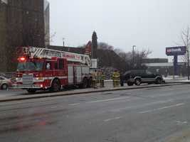 A SUV hits a light pole near 25th Street and Wisconsin Avenue in Milwaukee.