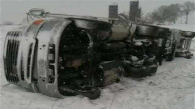 Semi rolls off Highway 26 in Dodge County
