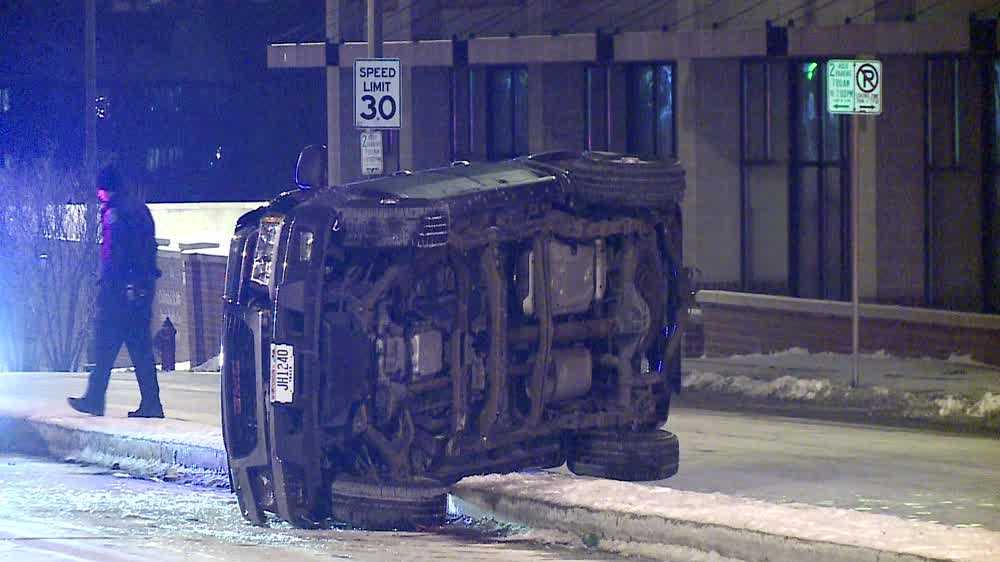 Vehicle flips over in Milwaukee