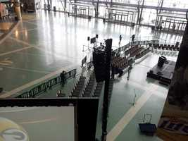 Crews were setting up the atrium for Donald Driver's retirement announcement Wednesday.