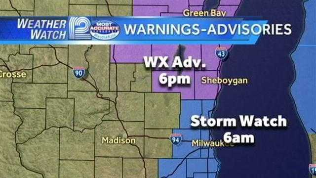 A Winter Storm Watch and Advisory will be in effect for tomorrow morning's drive.  WeatherWatch 12 meteorologist Sally Severson tracks the storm.