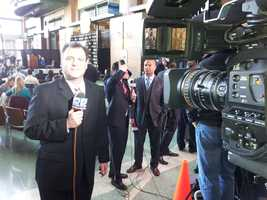 Sports Director Dan Needles gets ready to start off WISN 12's live program showcasing Donald Driver's retirement ceremony.